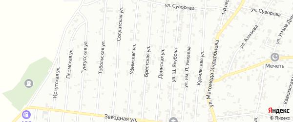 Брестская улица на карте Урус-мартана с номерами домов
