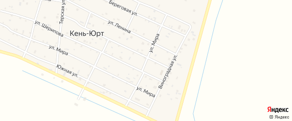 Улица Мира на карте села Кень-Юрт с номерами домов