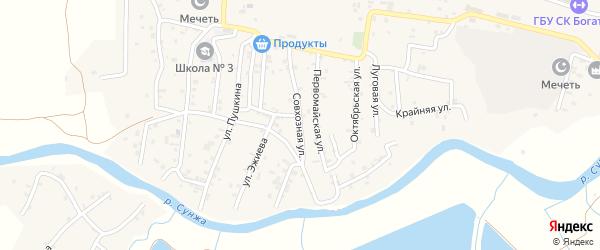 Совхозная улица на карте села Алхан-Кала с номерами домов