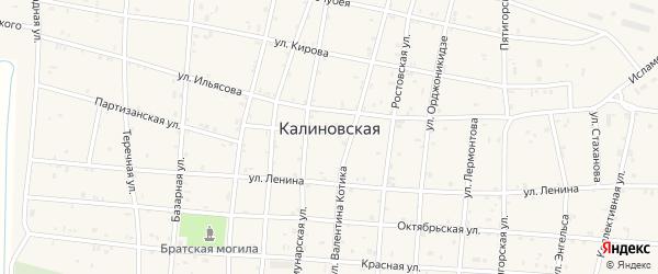 Восточная улица на карте Калиновской станицы с номерами домов