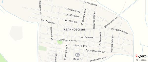 Карта Калиновской станицы в Чечне с улицами и номерами домов