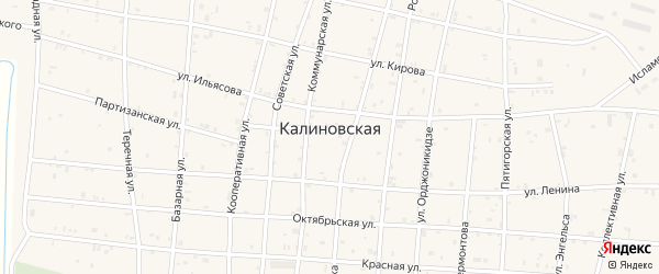 Улица Орджоникидзе на карте Калиновской станицы с номерами домов