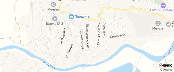 Первомайская улица на карте села Алхан-Кала с номерами домов