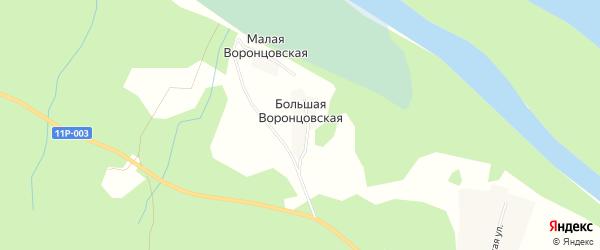 Карта Большей Воронцовской деревни в Архангельской области с улицами и номерами домов