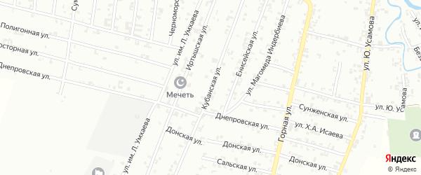 Кубанская улица на карте Урус-мартана с номерами домов