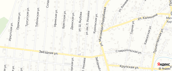 Улица Л.Умхаева на карте Урус-мартана с номерами домов