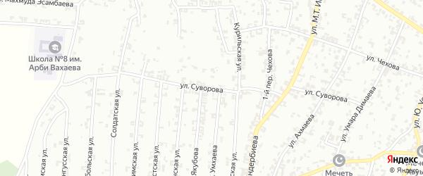 Улица Суворова на карте Урус-мартана с номерами домов