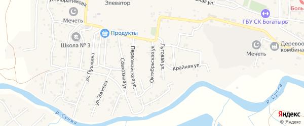 Октябрьская улица на карте села Алхан-Кала с номерами домов