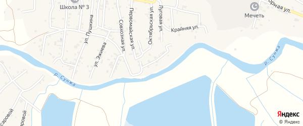 Береговая улица на карте села Алхан-Кала с номерами домов