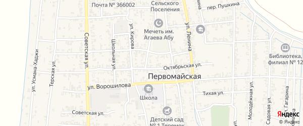 Комсомольский переулок на карте Первомайской станицы с номерами домов