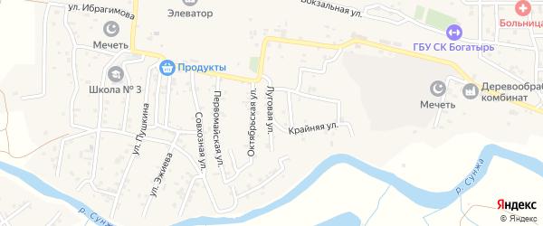 Луговая улица на карте села Алхан-Кала с номерами домов