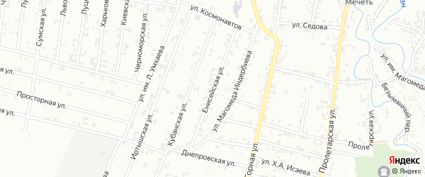 Енисейская улица на карте Урус-мартана с номерами домов