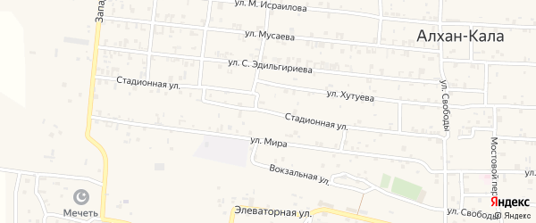 Стадионная улица на карте села Алхан-Кала с номерами домов