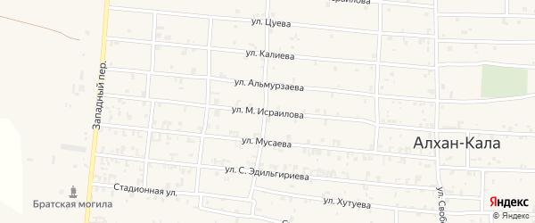 Улица Исраилова на карте села Алхан-Кала с номерами домов