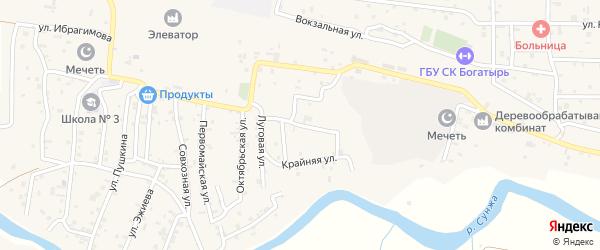 Короткая улица на карте села Алхан-Кала с номерами домов