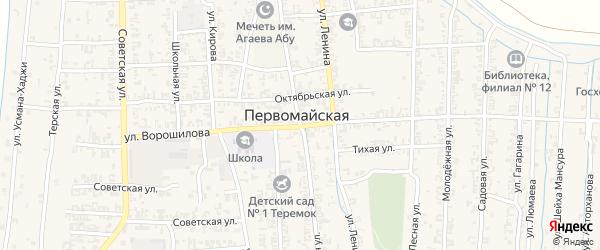 Короткая улица на карте Первомайской станицы с номерами домов