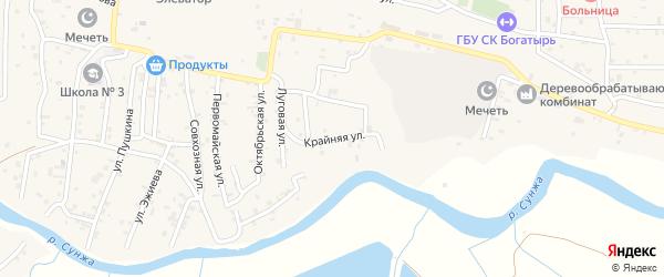 Крайняя улица на карте села Алхан-Кала с номерами домов