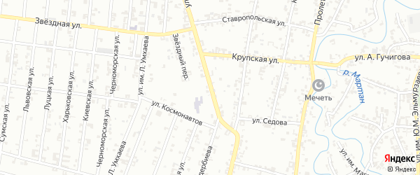 Переулок 1-й Куйбышева на карте Урус-мартана с номерами домов
