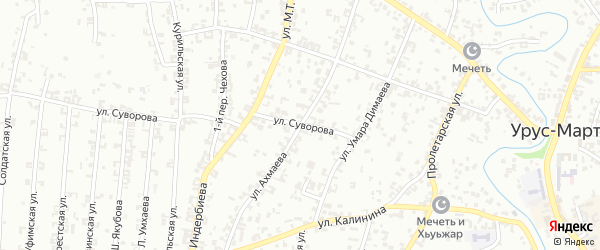 Улица Ахмаева на карте Урус-мартана с номерами домов