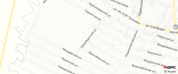 Оренбургская улица на карте Урус-мартана с номерами домов