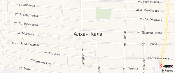 Улица А.Хутуева на карте села Алхан-Кала с номерами домов