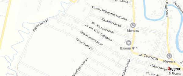 Краснодарская улица на карте Урус-мартана с номерами домов