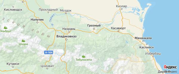 Карта Урус-мартановского района республики Чечня с городами и населенными пунктами