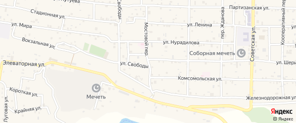Мостовой переулок на карте села Алхан-Кала с номерами домов