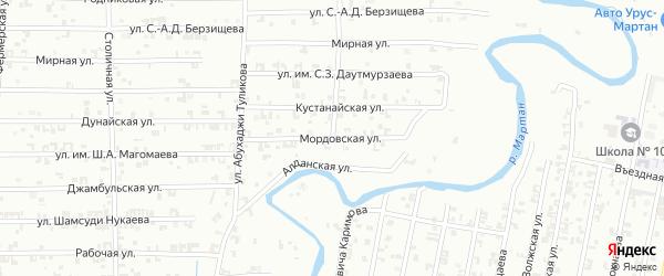 Мордовская улица на карте Урус-мартана с номерами домов
