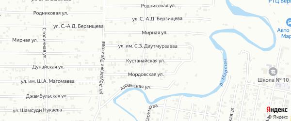 Кустанайская улица на карте Урус-мартана с номерами домов