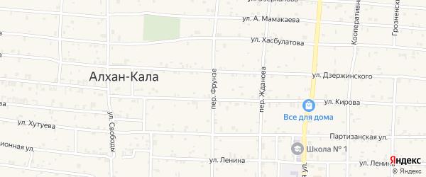 Переулок Фрунзе на карте села Алхан-Кала с номерами домов