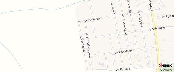 Переулок У.Байбатырова на карте села Алхан-Юрт с номерами домов