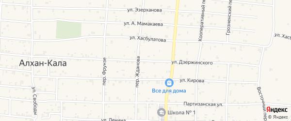 Улица Дзержинского на карте села Алхан-Кала с номерами домов