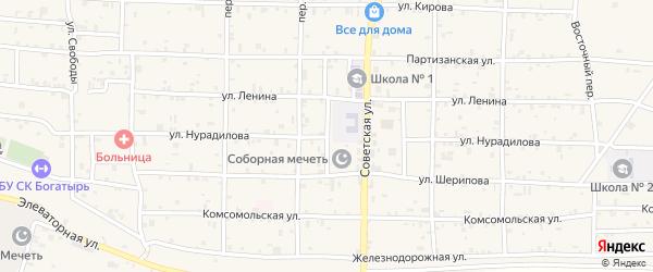 Улица Нурадилова на карте села Алхан-Кала с номерами домов