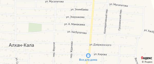 Улица Хасбулатова на карте села Алхан-Кала с номерами домов