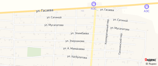 Улица Элимбаева на карте села Алхан-Кала с номерами домов