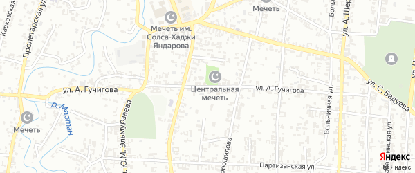 Улица А.Гучигова на карте Урус-мартана с номерами домов