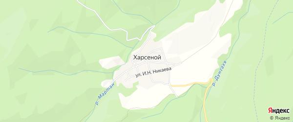Карта села Харсеноя в Чечне с улицами и номерами домов