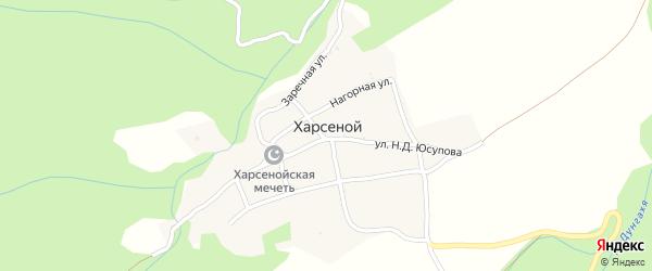 Улица Д.Басаева на карте села Харсеноя с номерами домов