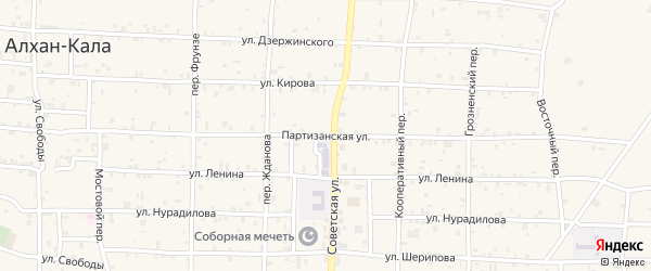 Партизанская улица на карте села Алхан-Кала с номерами домов