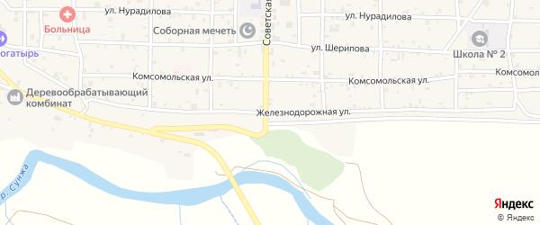Железнодорожная улица на карте села Алхан-Кала с номерами домов