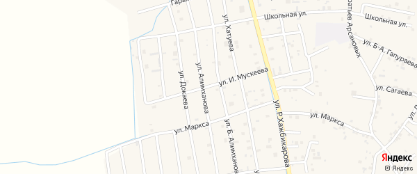 Улица И.Мускеева на карте села Алхан-Юрт с номерами домов