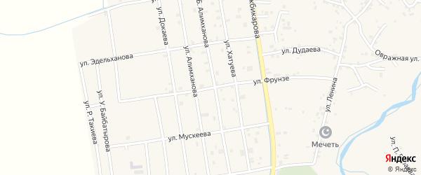 Улица Фрунзе на карте Грозного с номерами домов