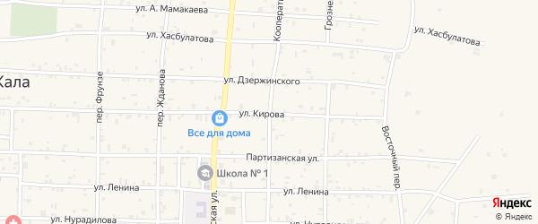 Кооперативный переулок на карте села Алхан-Кала с номерами домов
