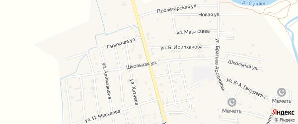 Шоссейная улица на карте села Алхан-Кала с номерами домов