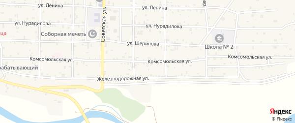 Комсомольская улица на карте села Алхан-Кала с номерами домов