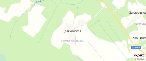 Карта Щелякинской деревни в Архангельской области с улицами и номерами домов