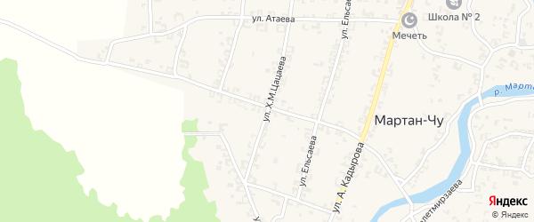 Улица Х.М.Цацаева на карте села Мартан-Чу с номерами домов