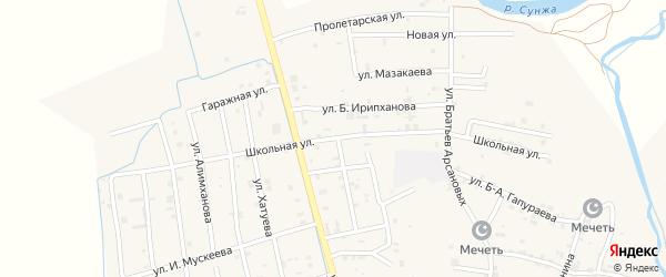 Школьная улица на карте села Алхан-Юрт с номерами домов