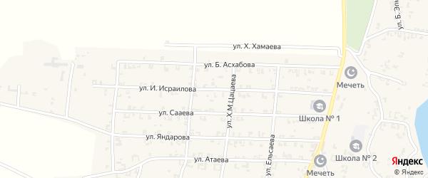Улица Б.Ю.Исраилова на карте села Мартан-Чу с номерами домов